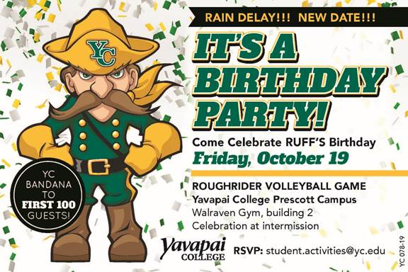The College Is Celebrating Ruffs 45th Birthday At 7 Pm Friday Oct 19 During YC Home Volleyball Match In Walraven Gymnasium On Prescott Campus